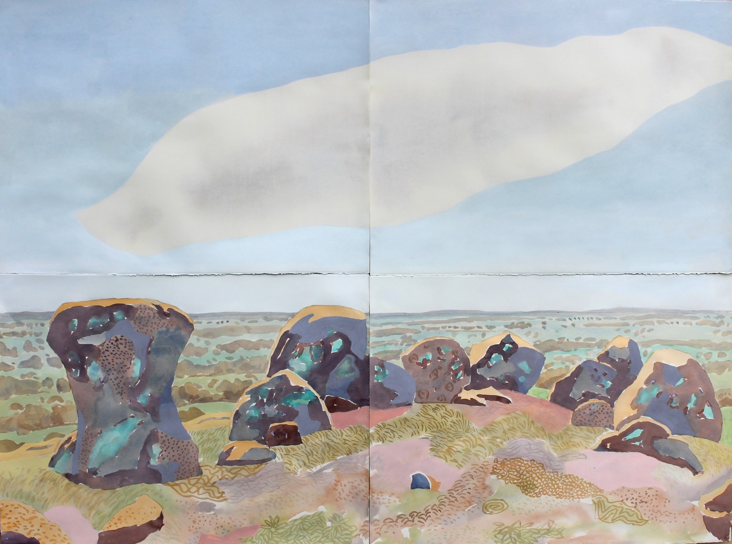 Circle of rocks with cloud (Nuggetty Hills) 2020 by Mark Dober