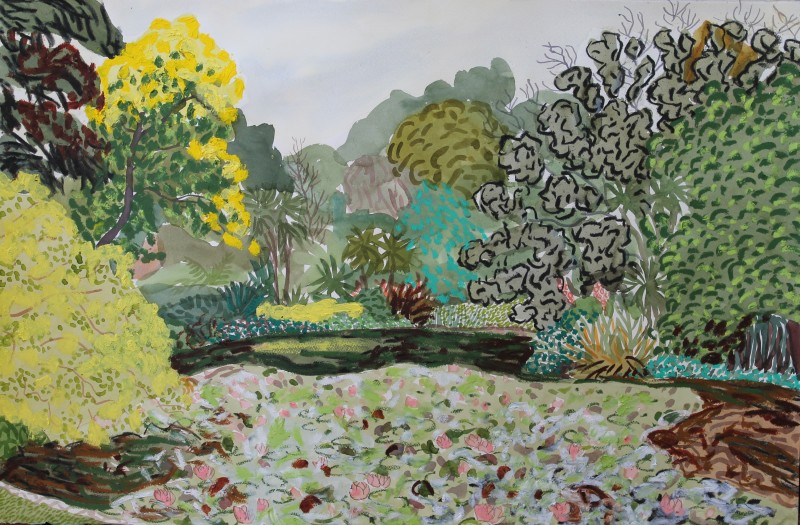 Gardens drawing 10 2016 by Mark Dober