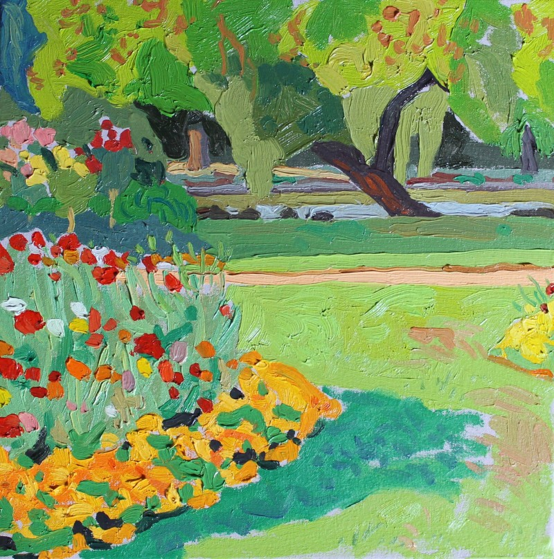 Gardens (flower bed with path) 2018 by Mark Dober