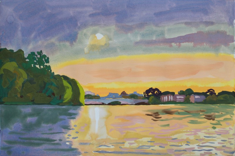 Thames landscape (looking towards Barnes, setting sun) 2019 by Mark Dober