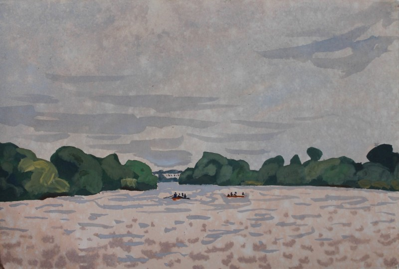 Thames landscape (Summer drizzle, rowers) 2019 by Mark Dober