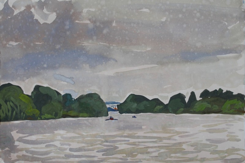 Thames landscape (Summer drizzle, Mortlake) 2019 by Mark Dober