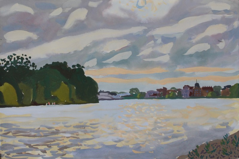 Thames landscape (looking towards Barnes) 2019 by Mark Dober