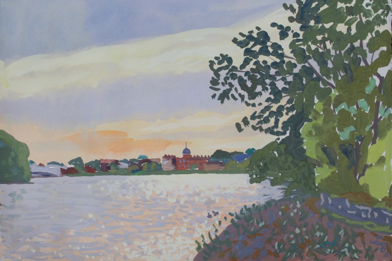 Thames landscape (incoming tide, Barnes in the distance) 2019 by Mark Dober