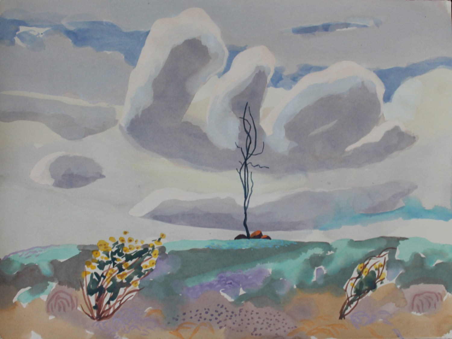 Wildflowers, tree and cloud (Nuggetty Hills) 2020 by Mark Dober